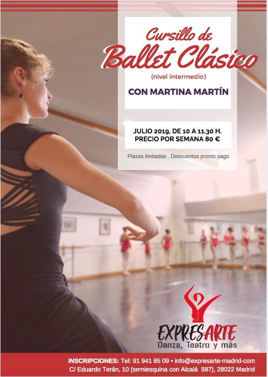 cursillo ballet clásico, nivel intermedio