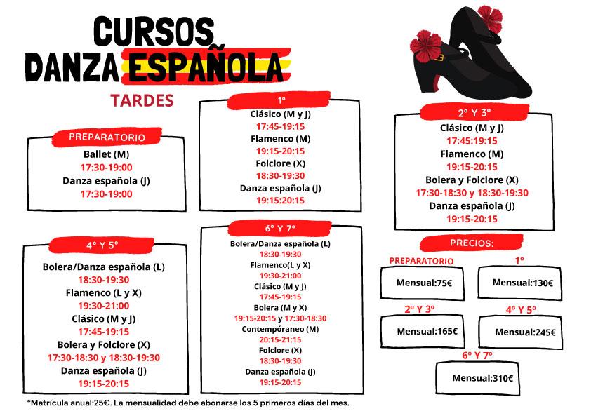 Horarios danza española tardes.